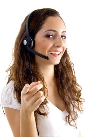 call center female pointing at camera on an isolated white background Stock Photo - 3901914