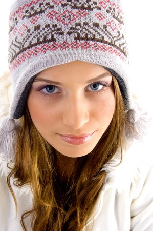 face of attractive  female  with white background photo