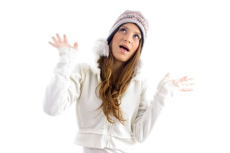 18: teenager female posing in winter wears on an isolated white background