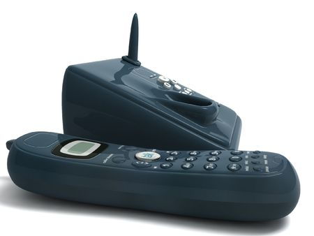 cordless phone: three dimensional black cordless phone on an isolated background