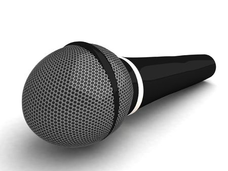 computergraphics: three dimensional isolated black microphone     Stock Photo