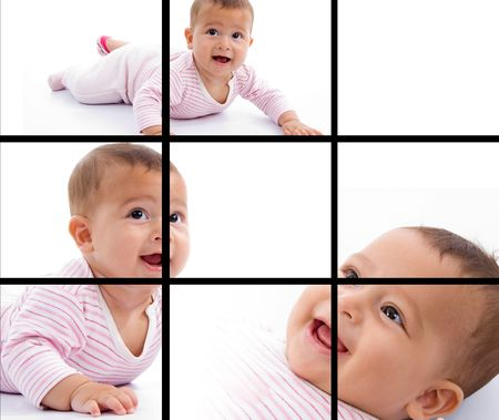 photomontage: photomontage of young adorable baby smiling