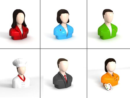 composition of different characters on an isolated background Stock Photo - 3924323