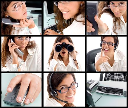 collection of different poses of young professional woman photo