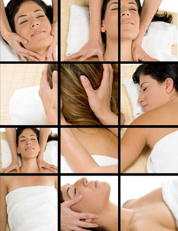 three dimensional shape: collage of different poses of beautiful woman getting massage