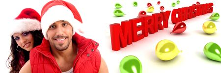 smiling couple wearing christmas hat with colorful three dimensional balloons and merry chritsmas text  photo