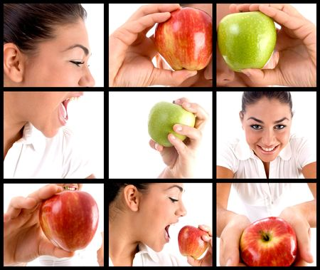photomontage: photomontage of woman eating apple on square background