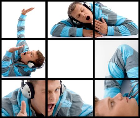 composition of different poses of man with headphone on block background photo