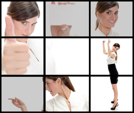 collection of different poses of young businesswoman on square background photo