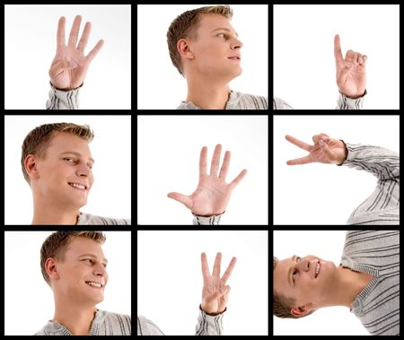 photomontage: photomontage of handsome man with hand gestures  Stock Photo