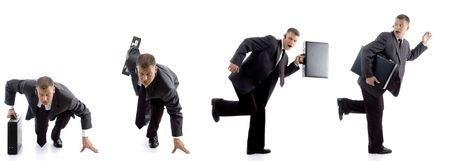 running businessman with bag against white background