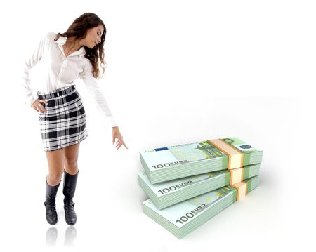 standing woman pointing the bundle of three dimensional notes photo