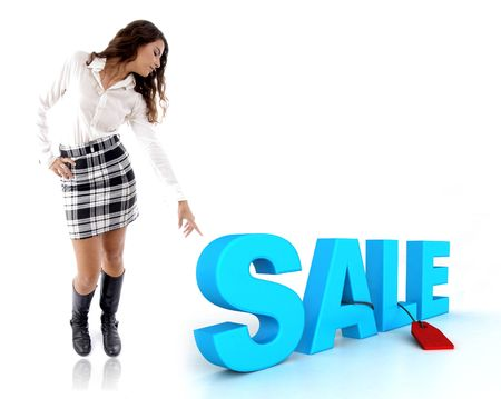 woman pointing at three dimensional sale text photo