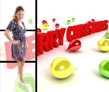 pretty woman standing with three dimensional merry christmas text photo