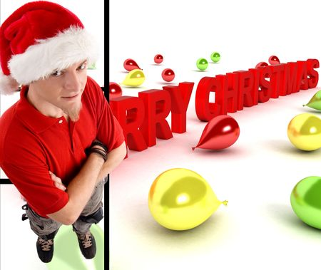 man wearing christmas hat with three dimensional merry christmas text photo