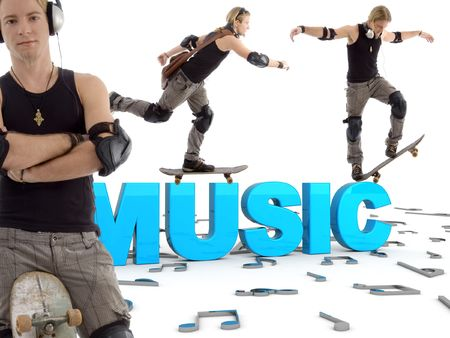 different poses of sportive man with skateboard and three dimensional music text Stock Photo - 3922070