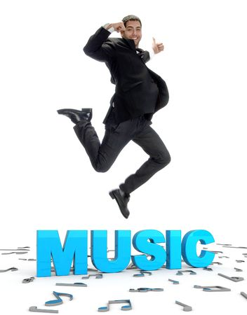 young guy jumping and showing thumbs up with musical text  Stock Photo - 3922068