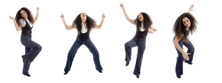 different poses of dancing woman on an isolated background photo