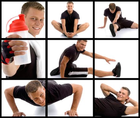 photomontage: composition of young sportive man  in different poses on an isolated background Stock Photo