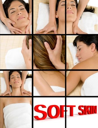 collage of beautiful women getting a massage in spa salon photo