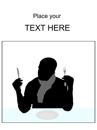 man standing alone: silhouette of young man holding fork and knife with white background