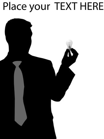 man standing alone: silhouette of executive holding electric bulb against white background Stock Photo