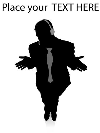 man standing alone: silhouette of call center executive standing on an isolated white background