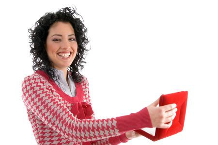 side view of smiling woman posing with necklace box on an isolated white background photo