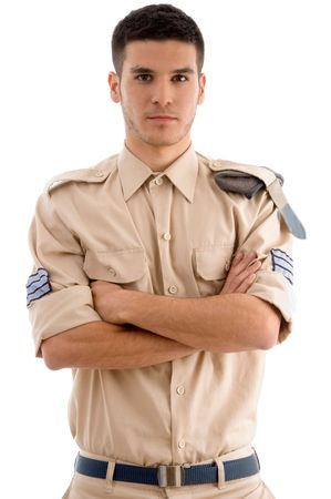 american guard with folded hands on an isolated white background