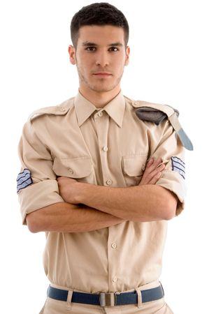 guarda de seguridad: american guardia con las manos dobladas sobre un fondo blanco aisladas