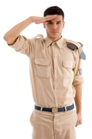 saluting: young saluting police man against white background