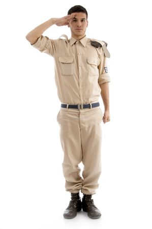 young saluting american guard on an isolated white background Standard-Bild