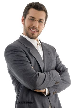 young handsome professional on an isolated white background Stock Photo
