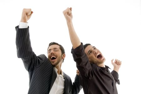 two professional people celebrating success on an isolated white background