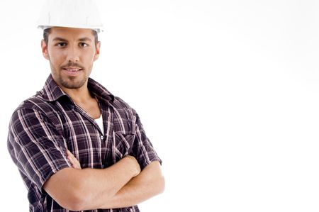 engineer with folded arms on an isolated white background photo