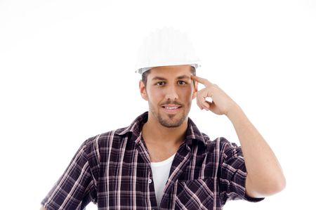 innovative engineer looking at camera with white background Stock Photo - 3934051