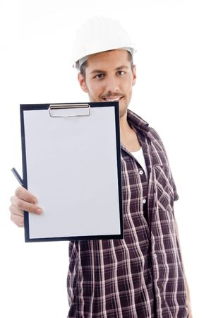 engineer showing writing pad with white background Standard-Bild