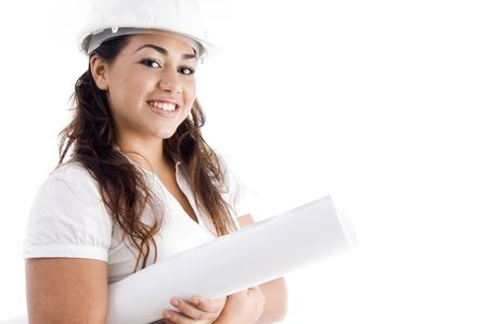 portrait of architect with helmet and hardhat  on an isolated background Stock Photo - 3933885