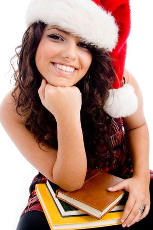 young student wearing christmas hat with white background photo