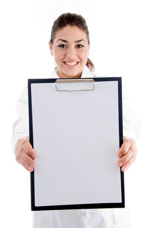 smiling doctor showing writing pad on an isolated white background photo