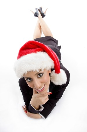 businesswoman with christmas hat  on an isolated white background photo