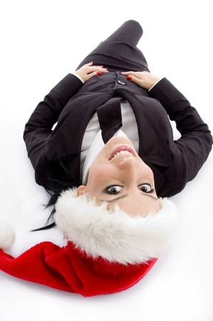 lawyer posing with christmas hat with white background photo
