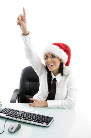 christmas woman pointing upward with white background photo
