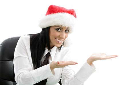 christmas woman presenting on an isolated background photo