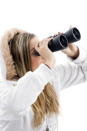 eyeing: professional photographer eyeing with binoculars on an isolated white background