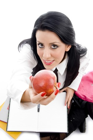 21: student holding an apple against white background