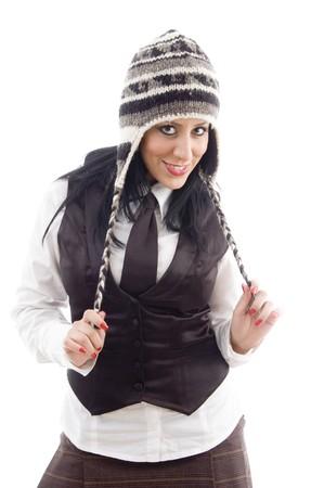 21: portrait of caucasian model in woolen cap against white background