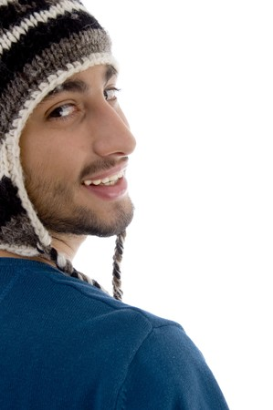 half  length: half length view of smiling male on an isolated white background