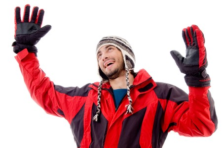21: happy young guy in winter cap with white background