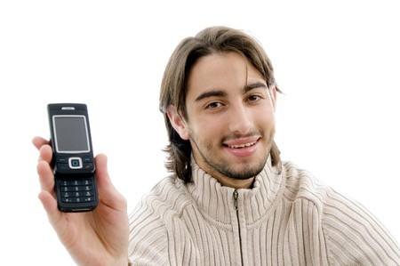 21: handsome man showing cell phone with white background Stock Photo